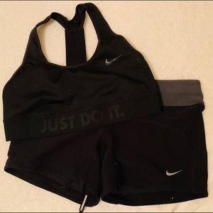 Women's Black Nike Dri-Fit shorts with Sports Bra